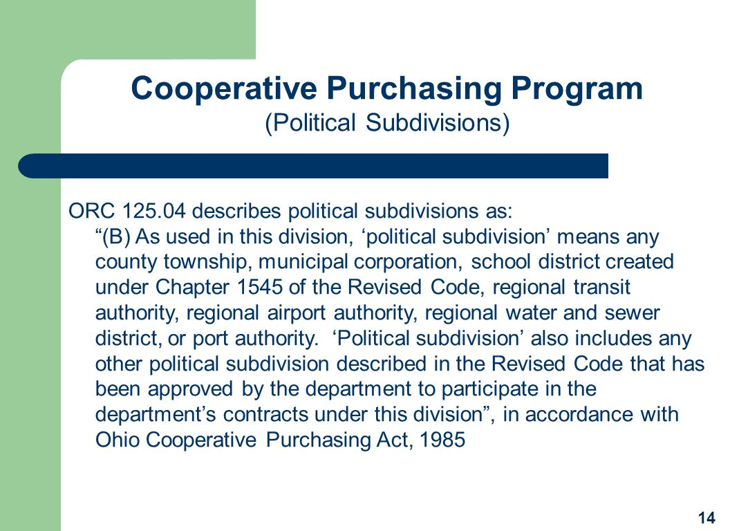 Cooperative Purchasing Program
