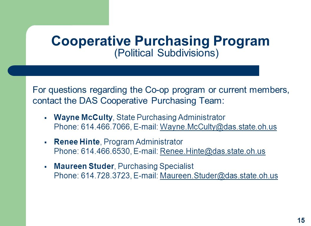 Cooperative Purchasing Program (Political Subdivisions)