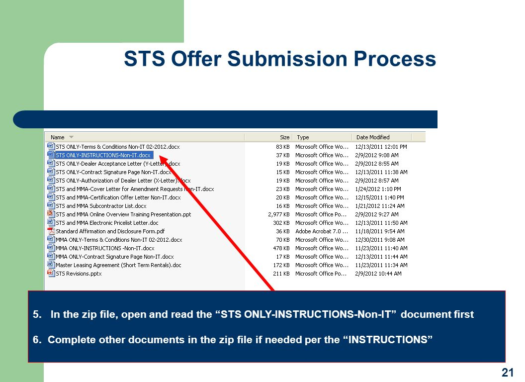 STS Offer Submission Process