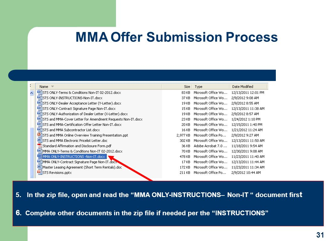 MMA Offer Submission Process