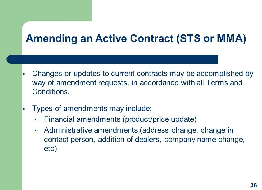 Amending an Active Contract (STS or MMA)