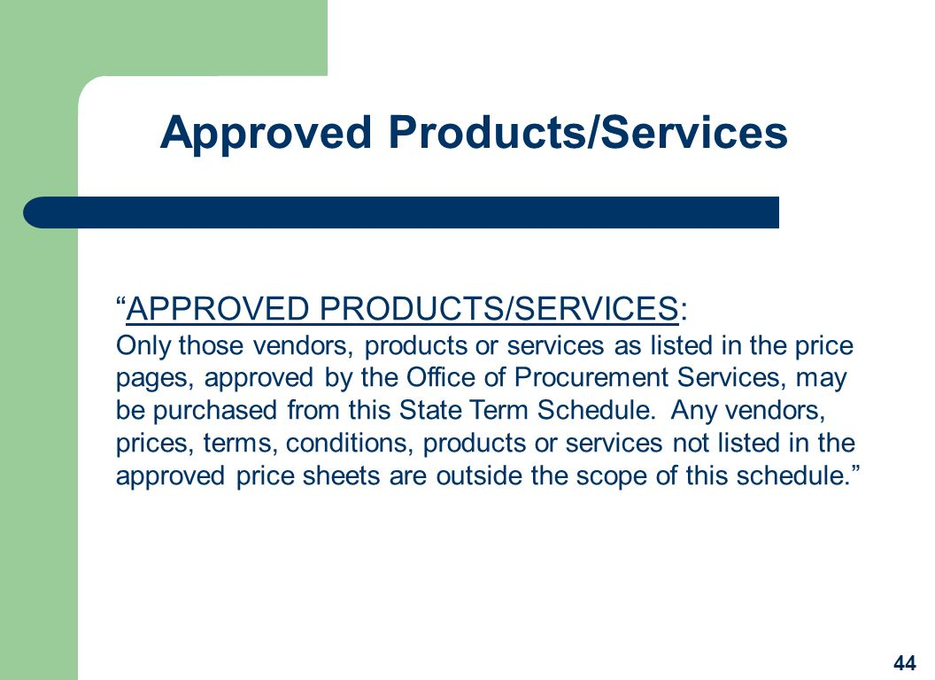 Approved Products/Services