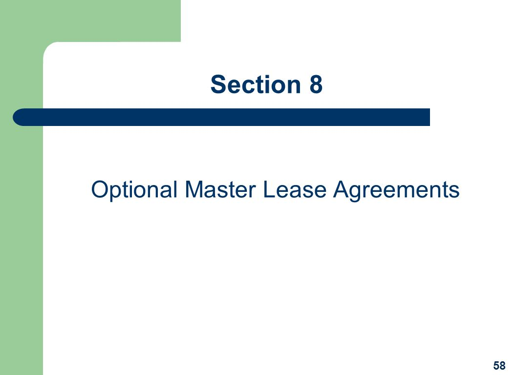 Optional Master Lease Agreements