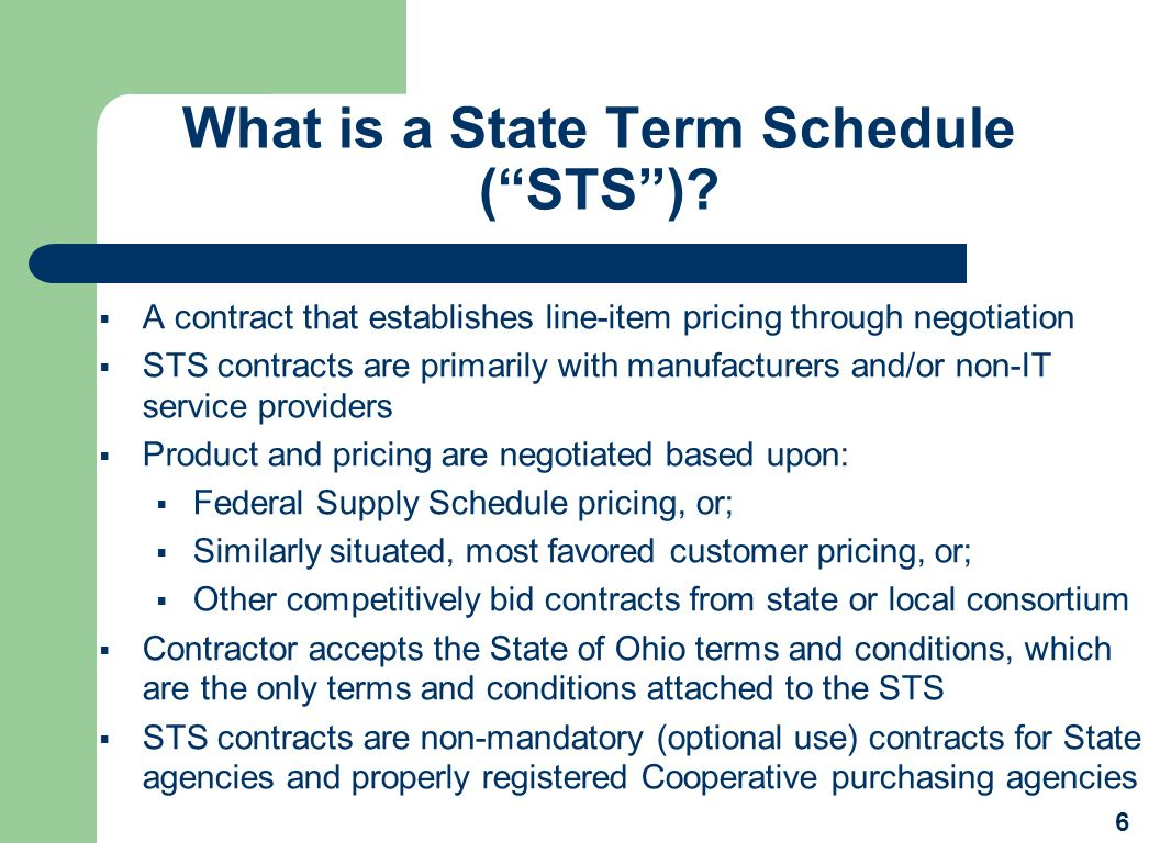 What is a State Term Schedule ( STS )