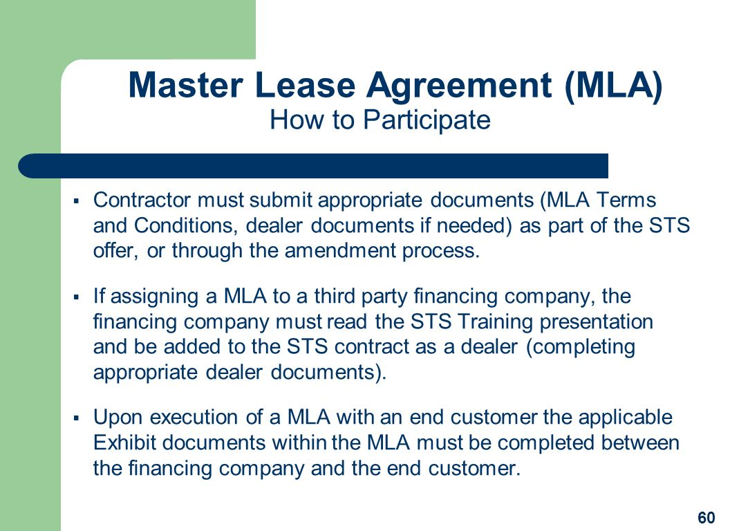 Master Lease Agreement (MLA) How to Participate