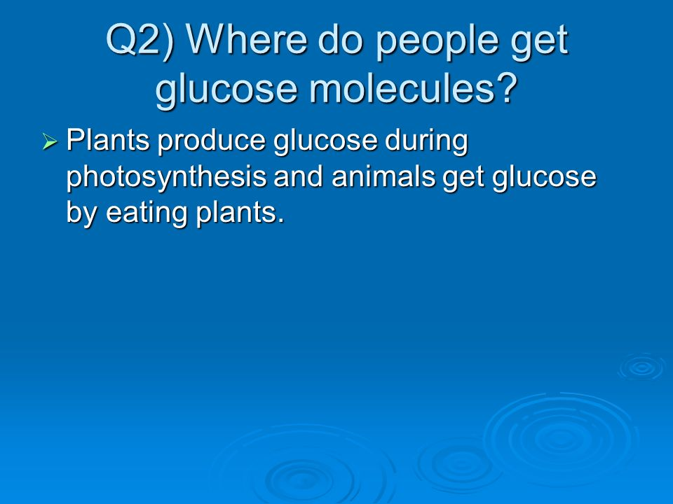 Q2) Where do people get glucose molecules
