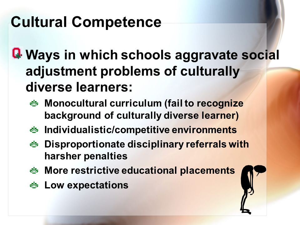 Cultural Competence Ways in which schools aggravate social adjustment problems of culturally diverse learners: