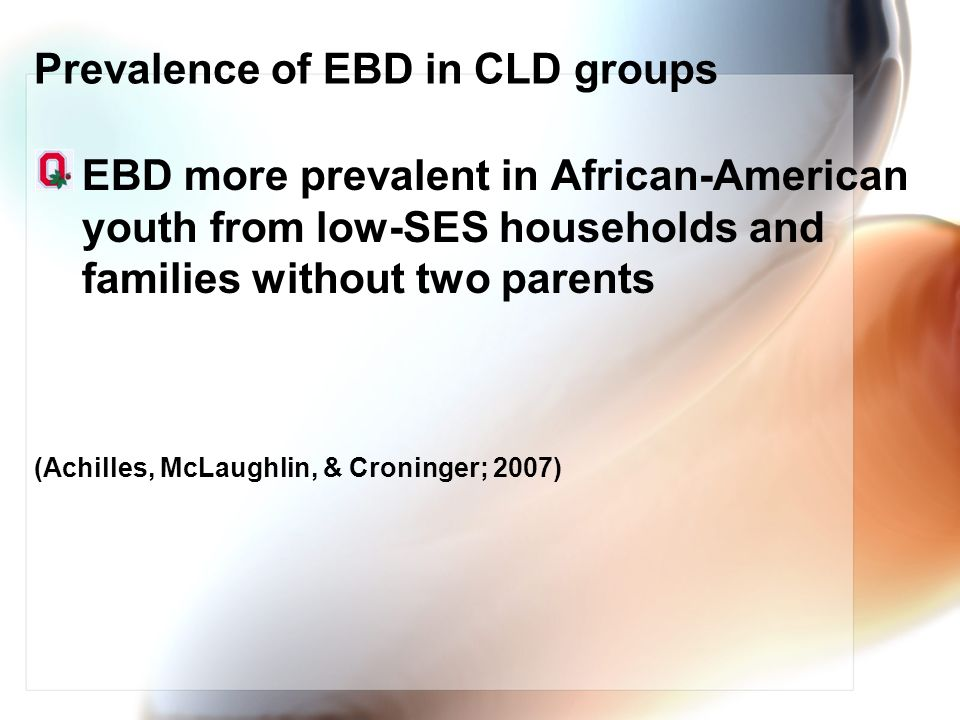 Prevalence of EBD in CLD groups