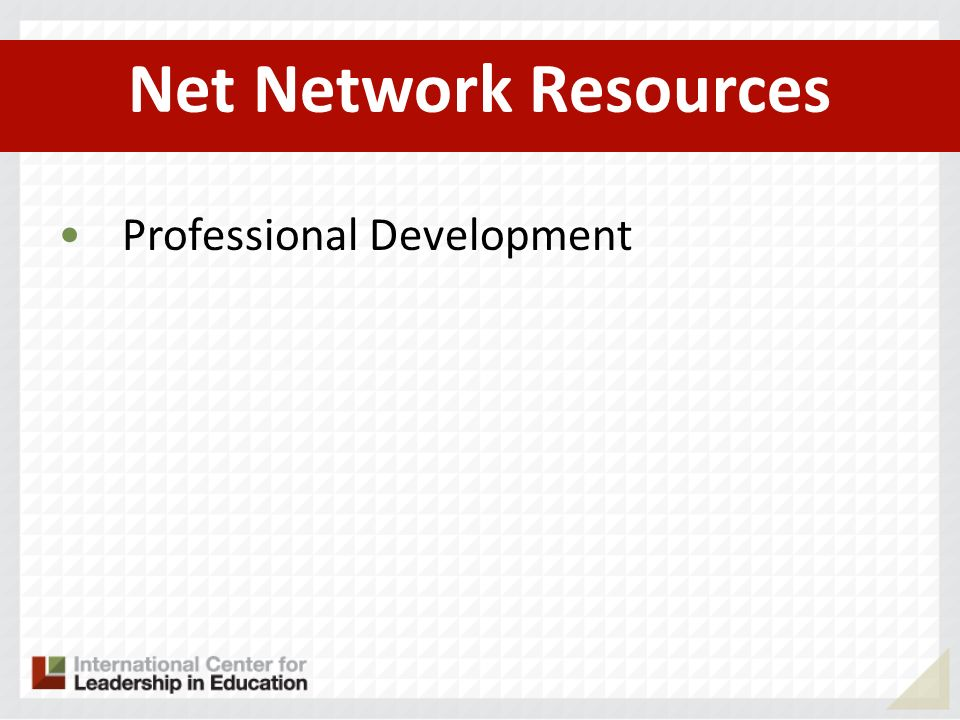 Net Network Resources Professional Development