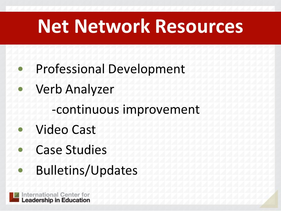 Net Network Resources Professional Development Verb Analyzer