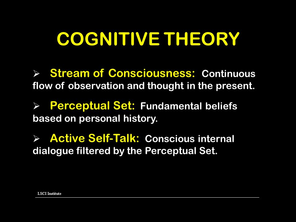 COGNITIVE THEORY Stream of Consciousness: Continuous flow of observation and thought in the present.