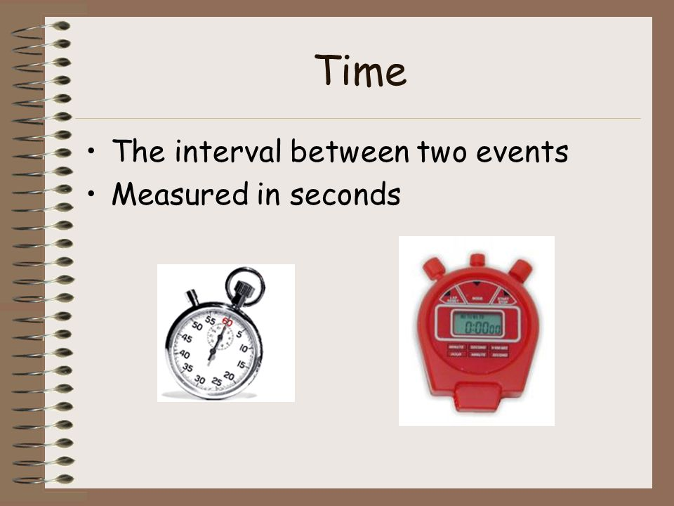 Time The interval between two events Measured in seconds