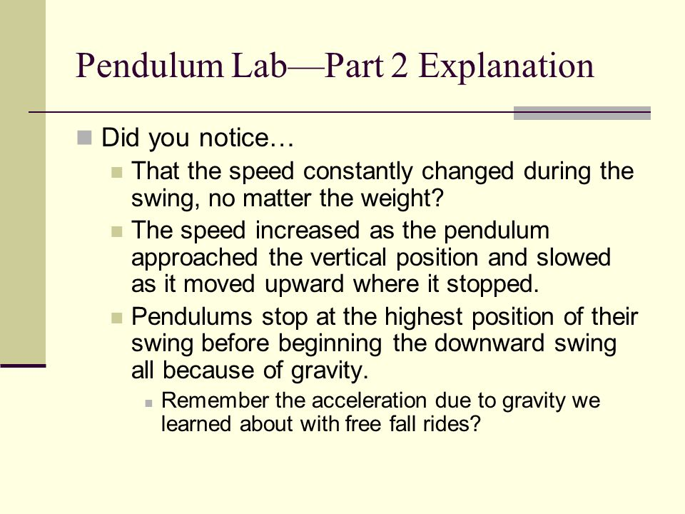 Pendulum Lab—Part 2 Explanation
