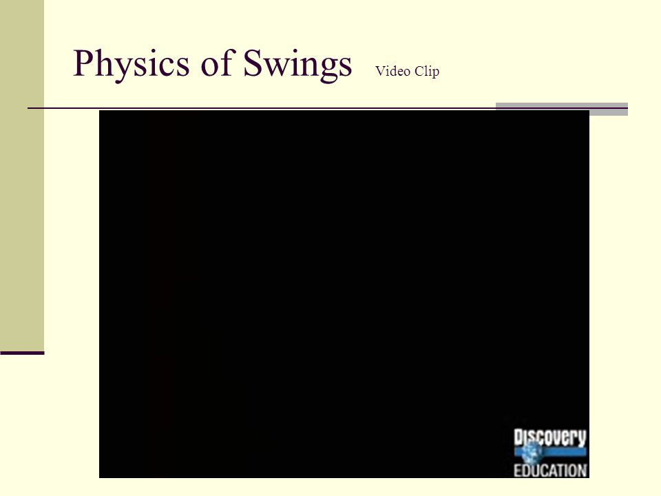 Physics of Swings Video Clip