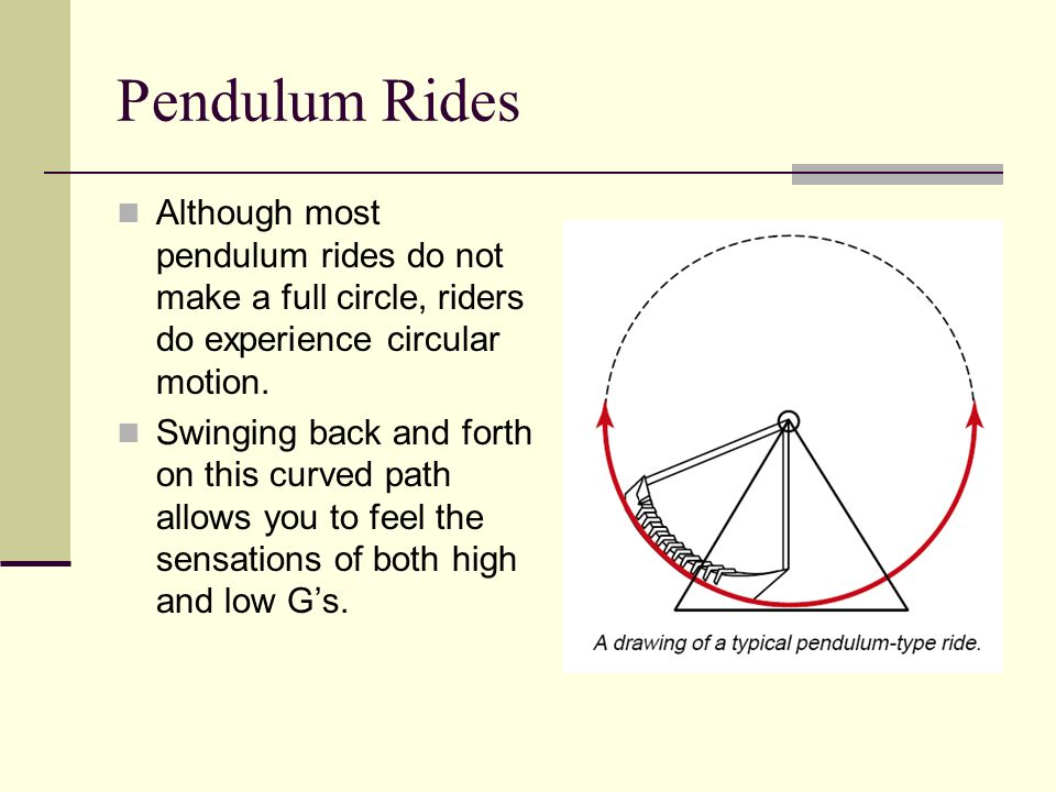 Pendulum Rides Although most pendulum rides do not make a full circle, riders do experience circular motion.