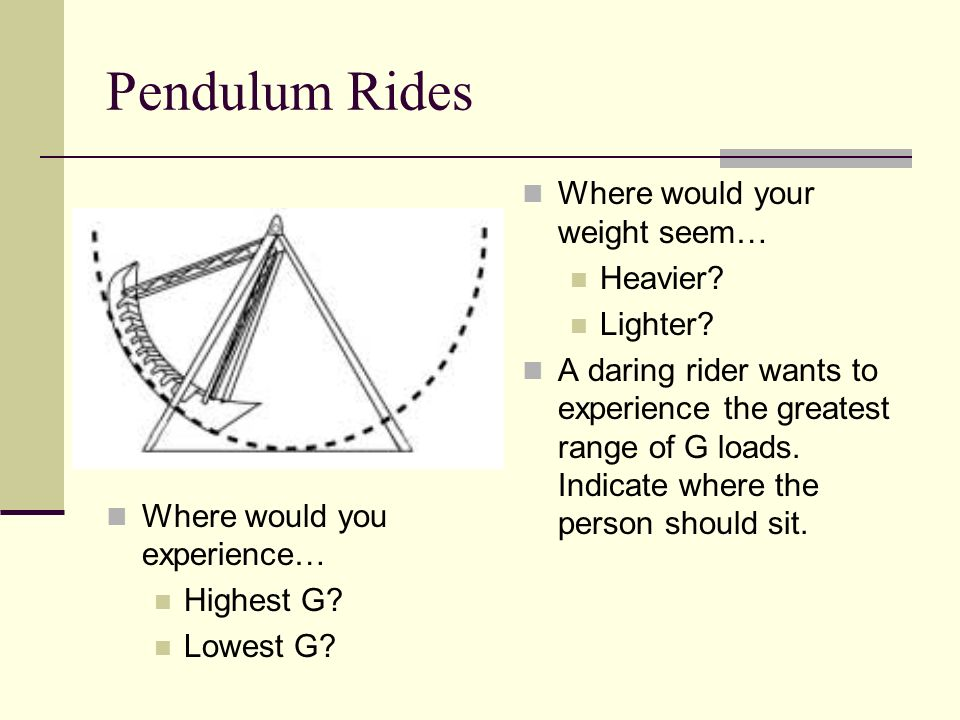 Pendulum Rides Where would your weight seem… Heavier Lighter