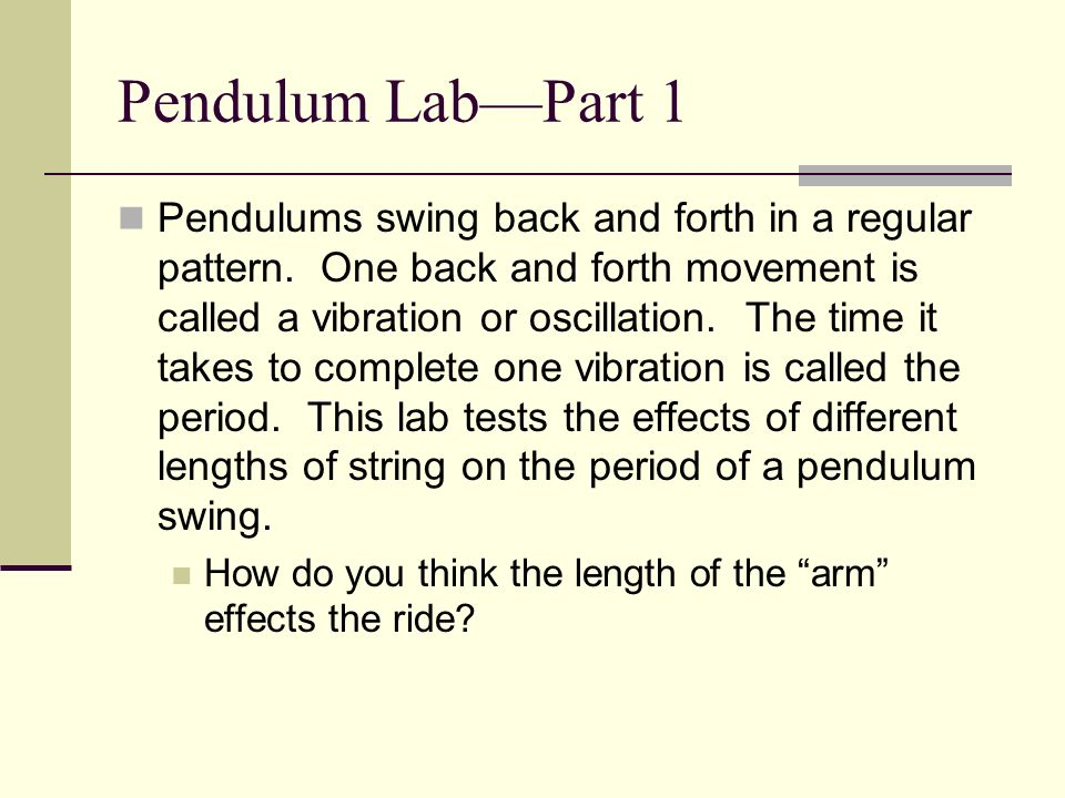 Pendulum Lab—Part 1