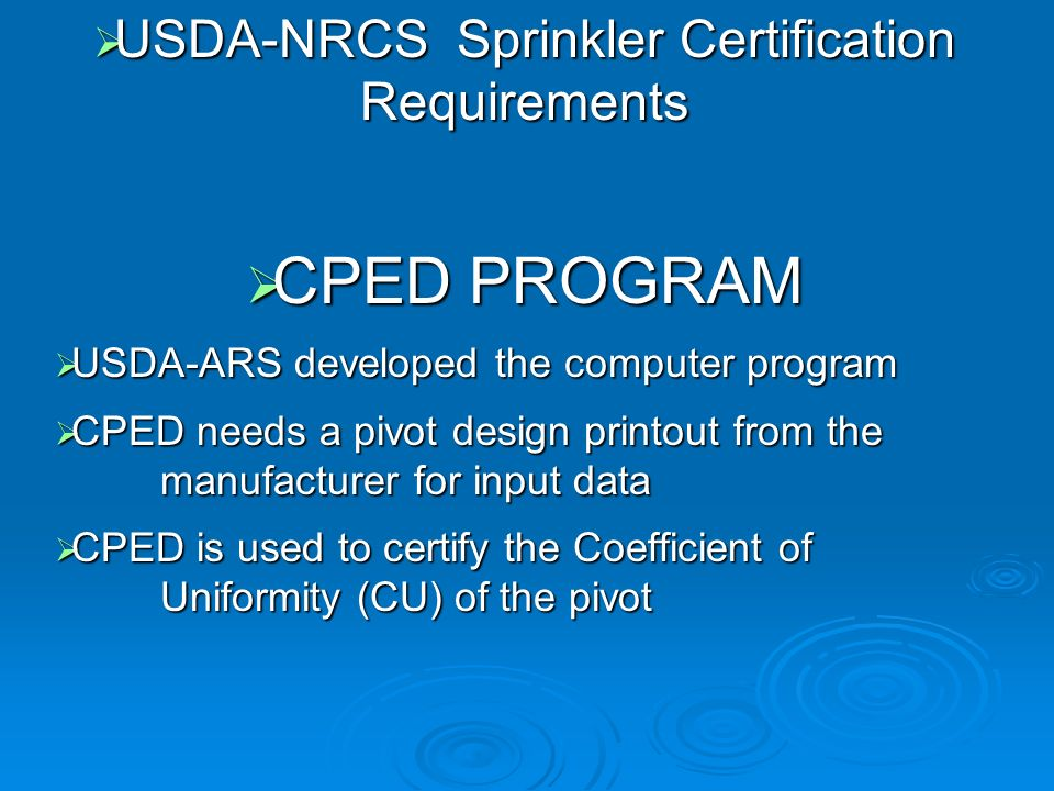 USDA-NRCS Sprinkler Certification Requirements
