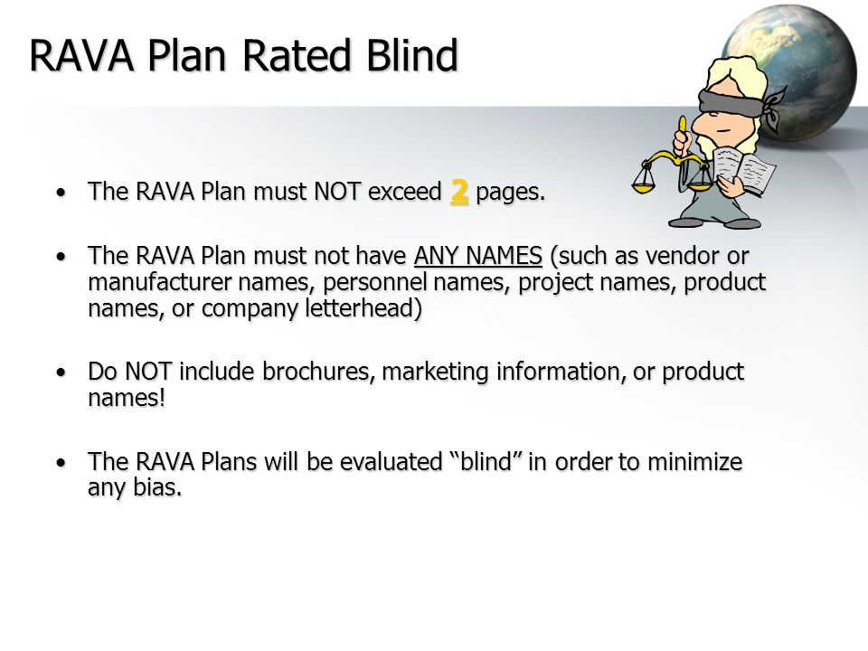RAVA Plan Rated Blind The RAVA Plan must NOT exceed 2 pages.