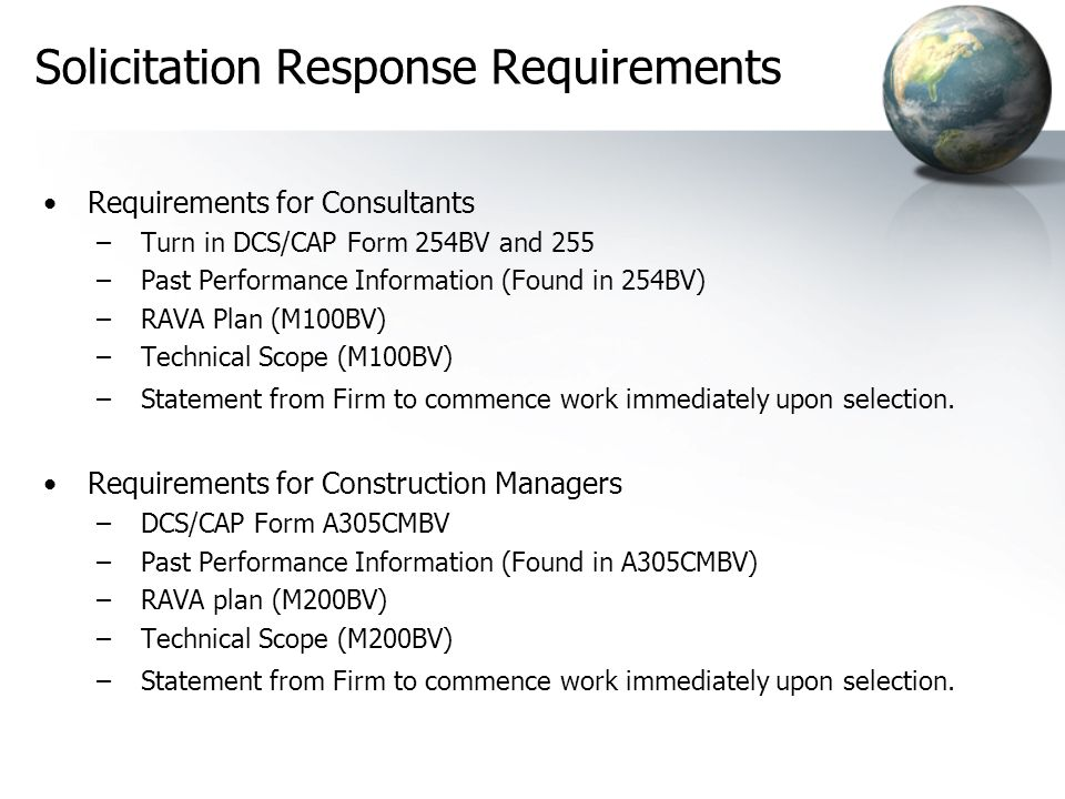 Solicitation Response Requirements