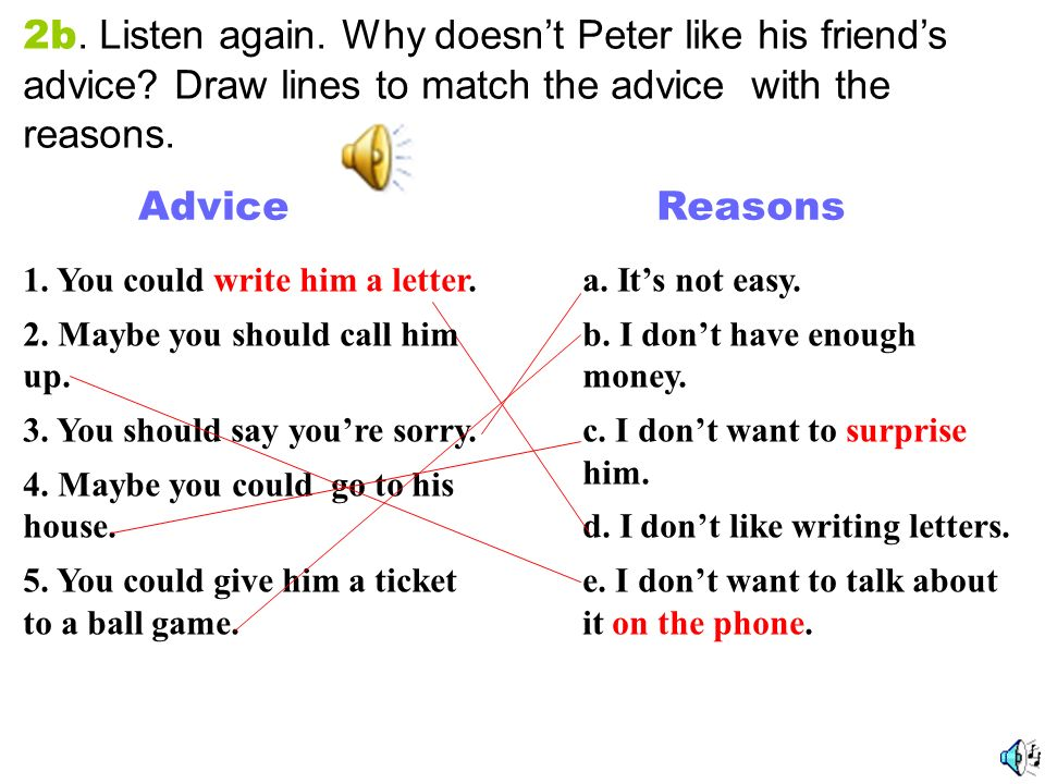 2b. Listen again. Why doesn't Peter like his friend's advice