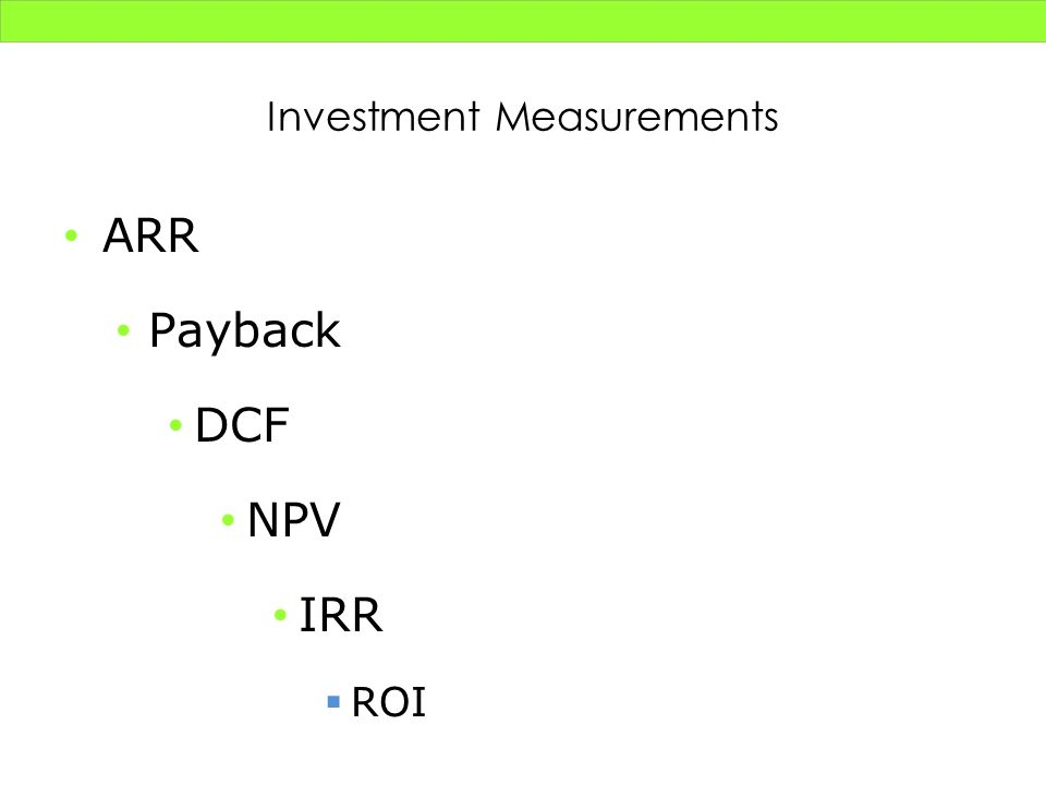 Investment Measurements