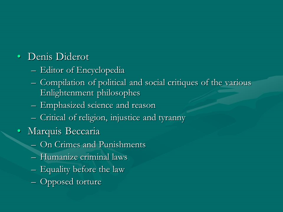 Denis Diderot Marquis Beccaria Editor of Encyclopedia