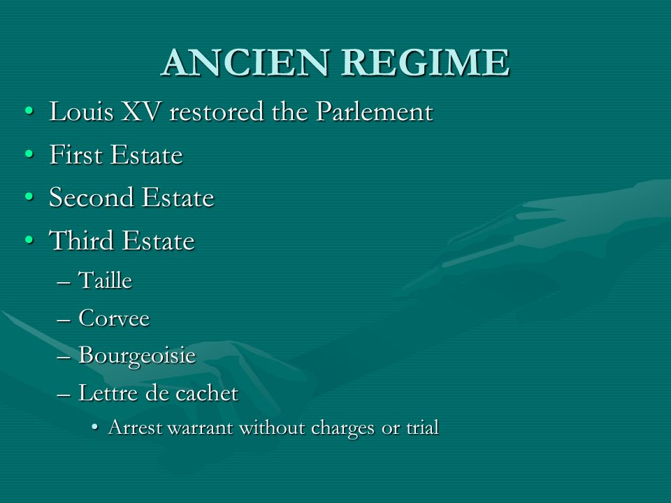 ANCIEN REGIME Louis XV restored the Parlement First Estate