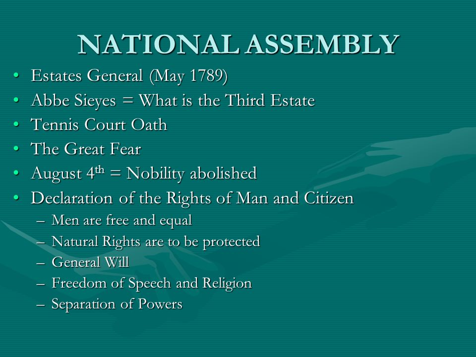 NATIONAL ASSEMBLY Estates General (May 1789)
