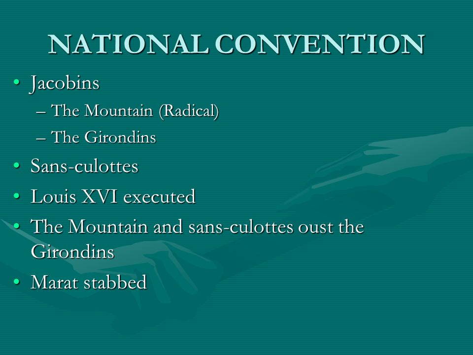 NATIONAL CONVENTION Jacobins Sans-culottes Louis XVI executed