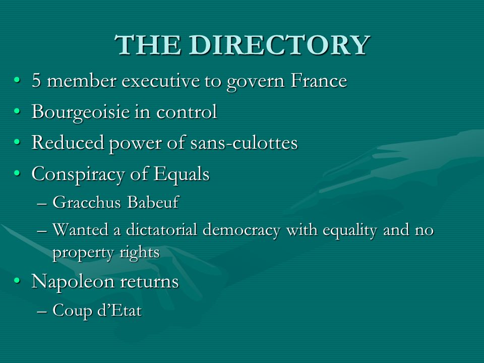 THE DIRECTORY 5 member executive to govern France