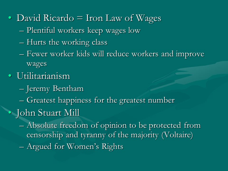 David Ricardo = Iron Law of Wages