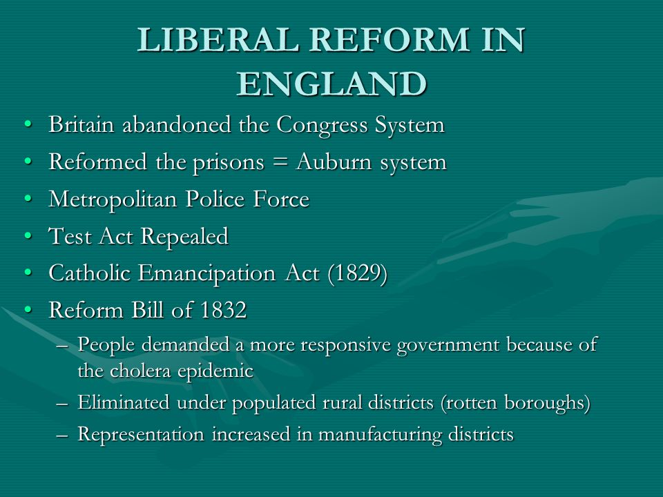 LIBERAL REFORM IN ENGLAND