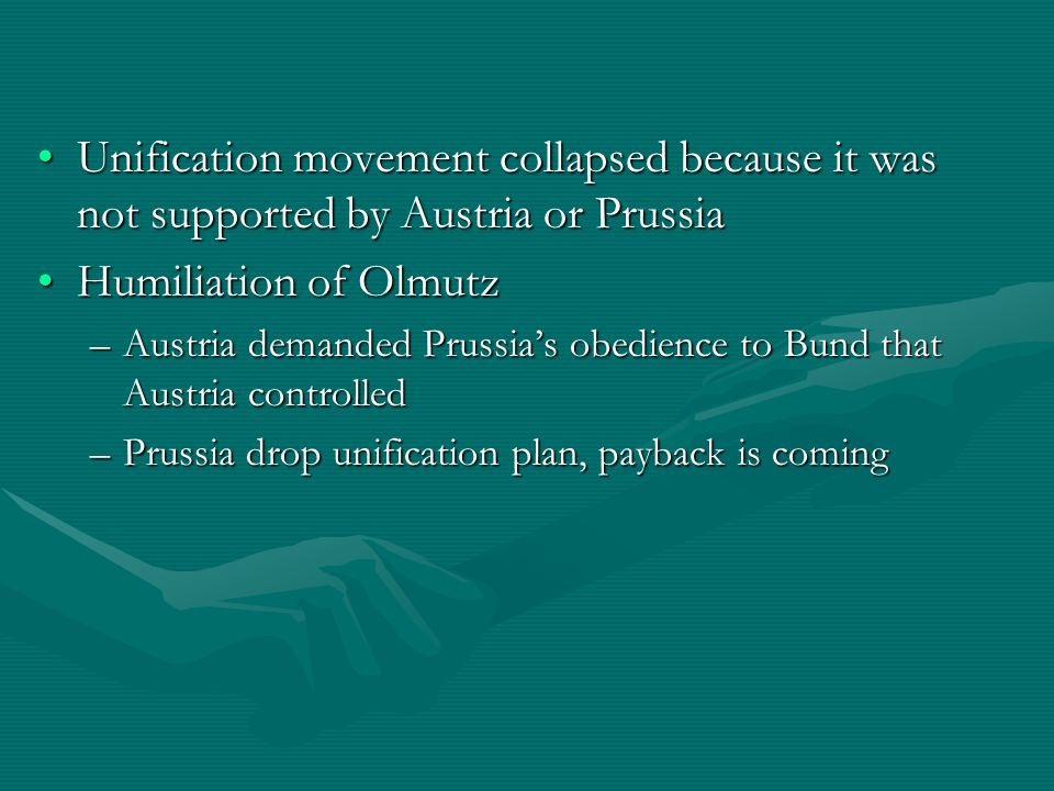 Unification movement collapsed because it was not supported by Austria or Prussia