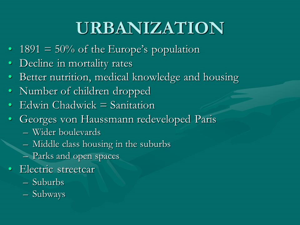 URBANIZATION 1891 = 50% of the Europe's population
