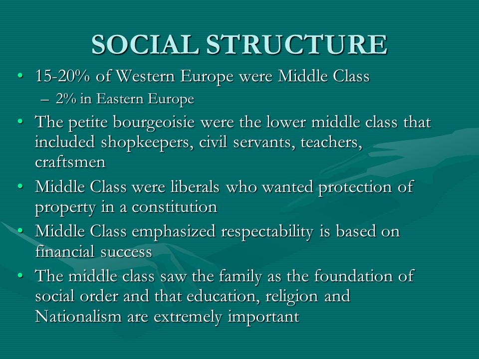 SOCIAL STRUCTURE 15-20% of Western Europe were Middle Class