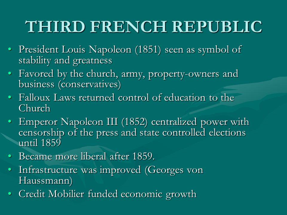 THIRD FRENCH REPUBLIC President Louis Napoleon (1851) seen as symbol of stability and greatness.