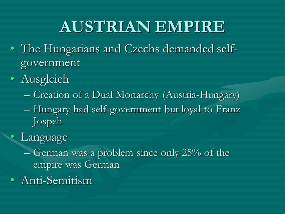 AUSTRIAN EMPIRE The Hungarians and Czechs demanded self-government