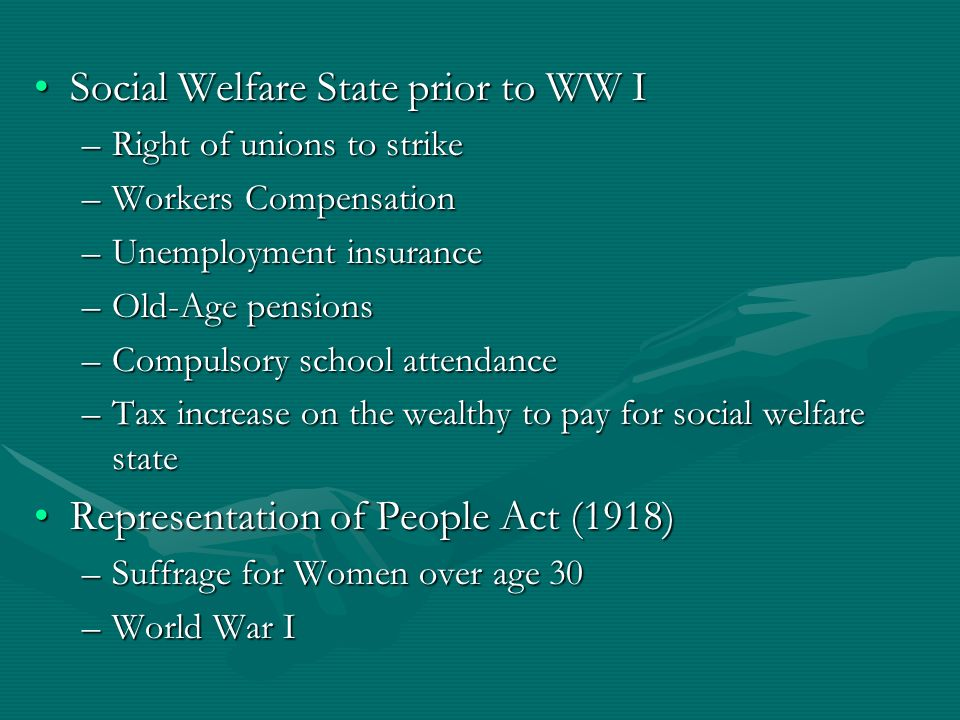 Social Welfare State prior to WW I