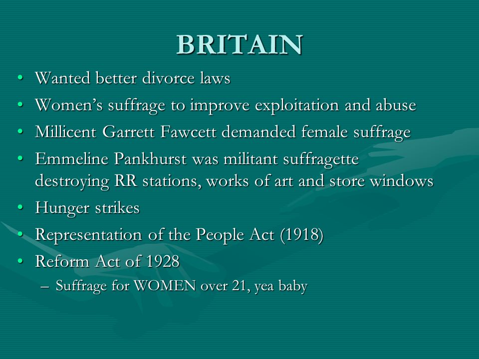 BRITAIN Wanted better divorce laws