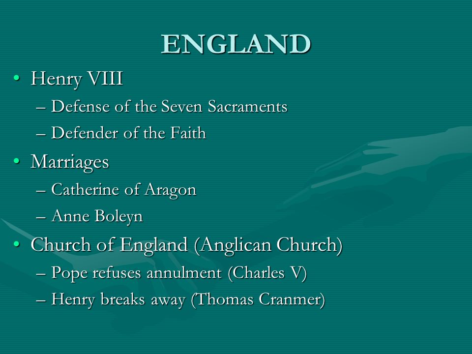 ENGLAND Henry VIII Marriages Church of England (Anglican Church)