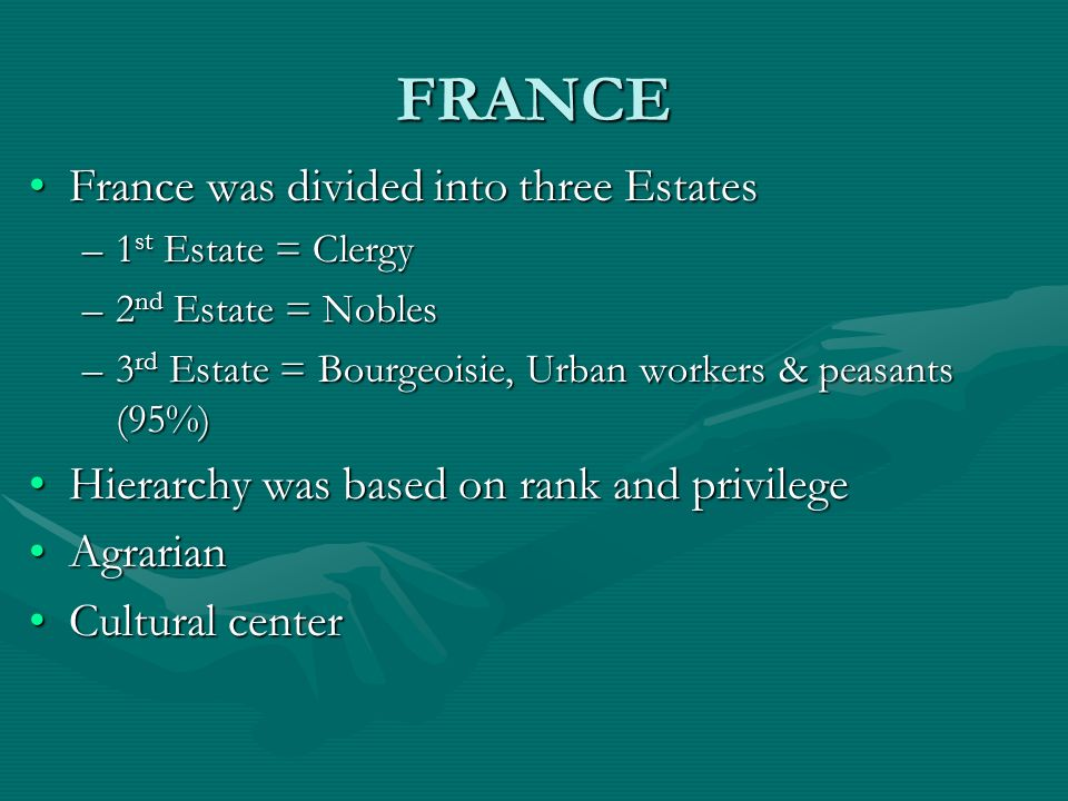 FRANCE France was divided into three Estates