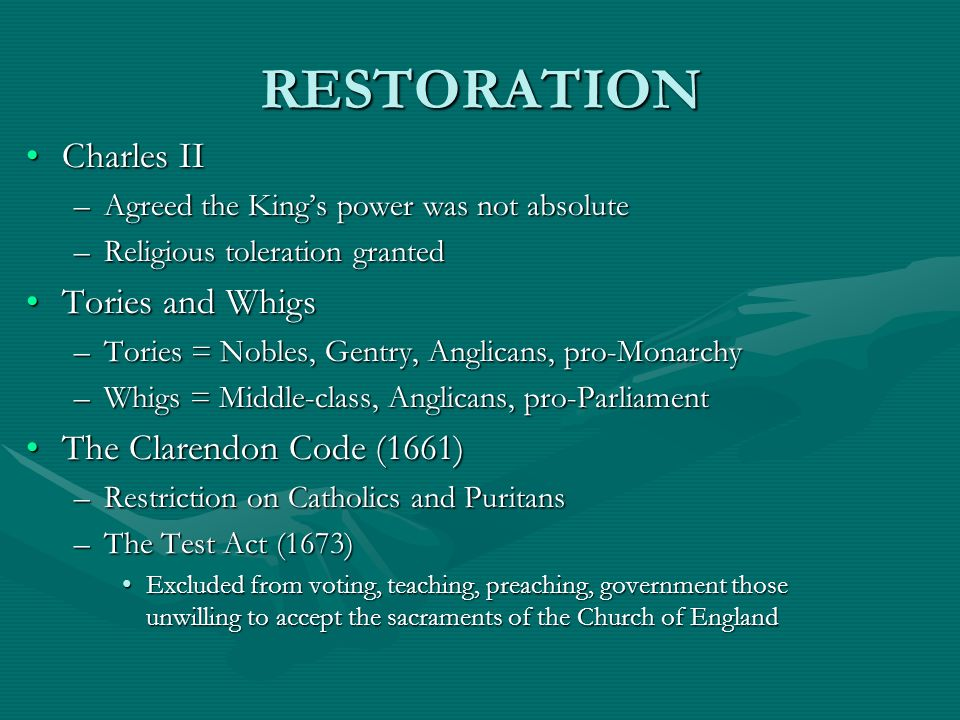 RESTORATION Charles II Tories and Whigs The Clarendon Code (1661)