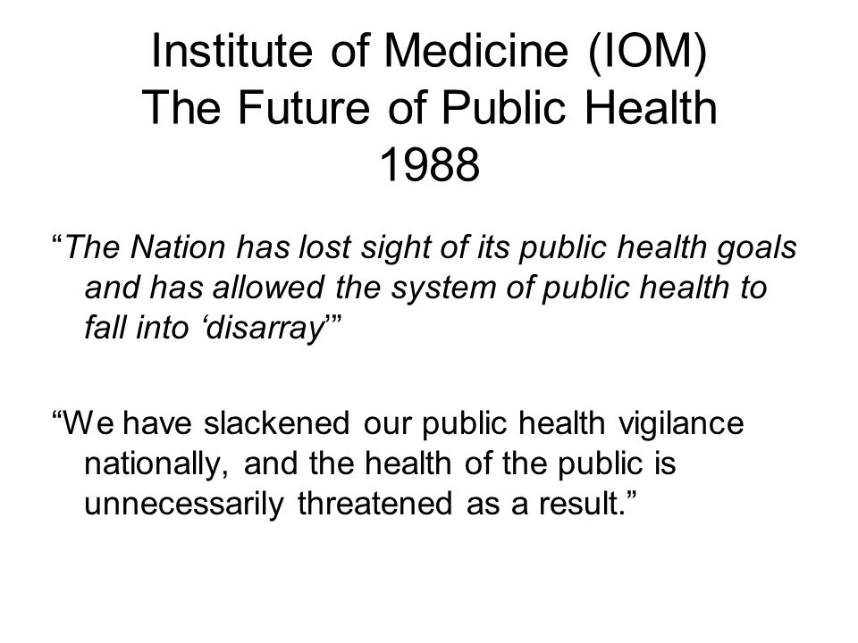 a warning on the future of american public health Public health is the science and art of preventing disease, prolonging life and promoting human health through organized efforts and informed choices of society, organizations, public and private.
