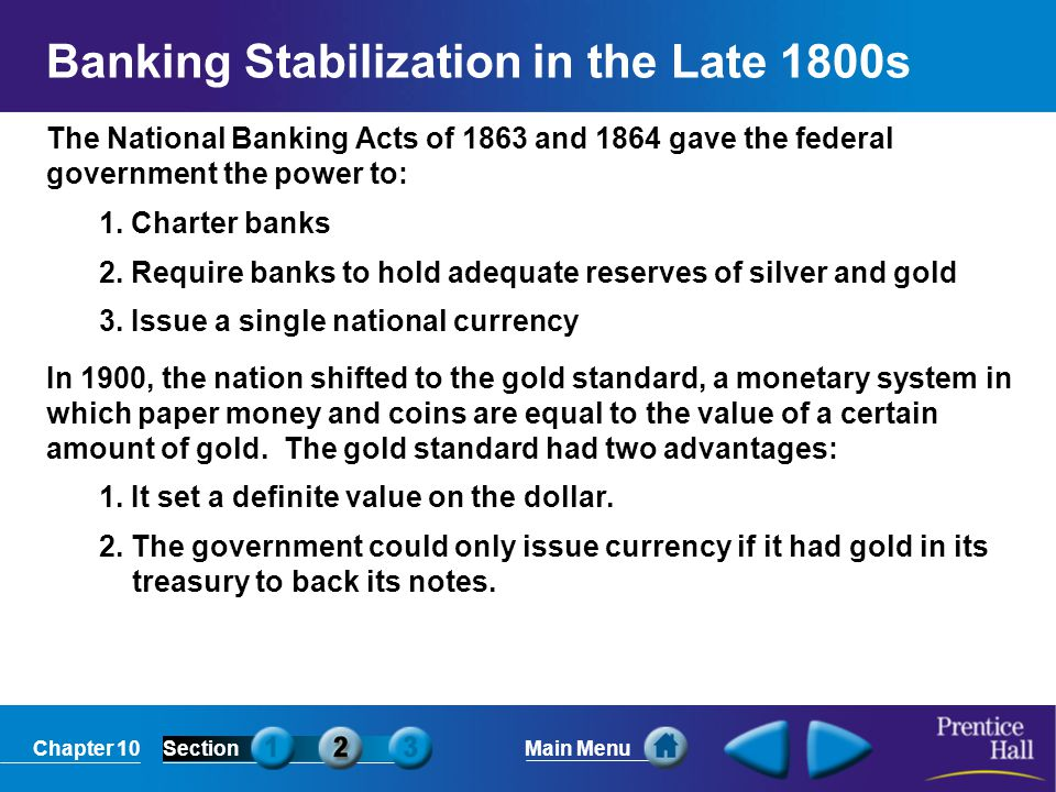 Banking Stabilization in the Late 1800s