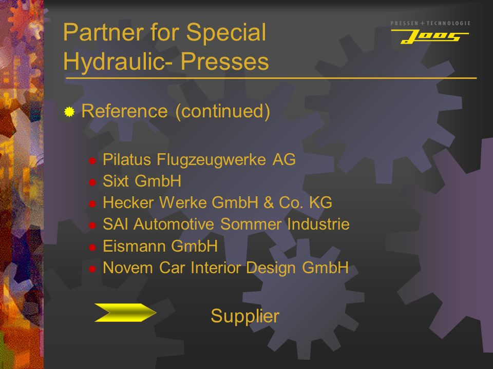 Partner for Special Hydraulic- Presses