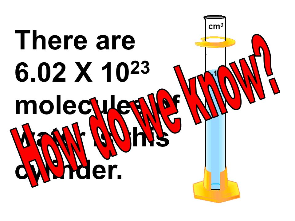 There are 6.02 X 1023 molecules of water is this cylinder.