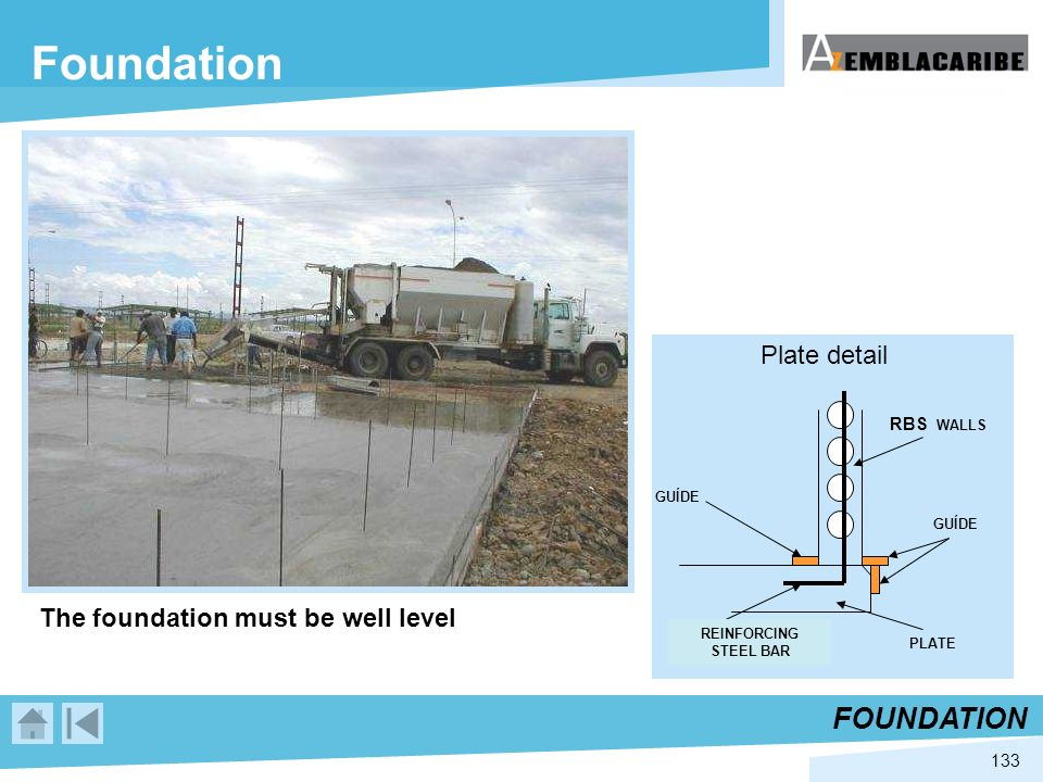 Foundation FOUNDATION Plate detail The foundation must be well level