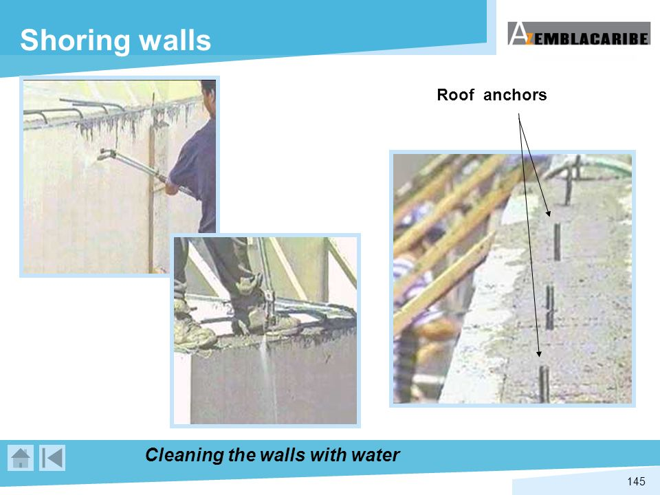 Shoring walls Roof anchors Cleaning the walls with water