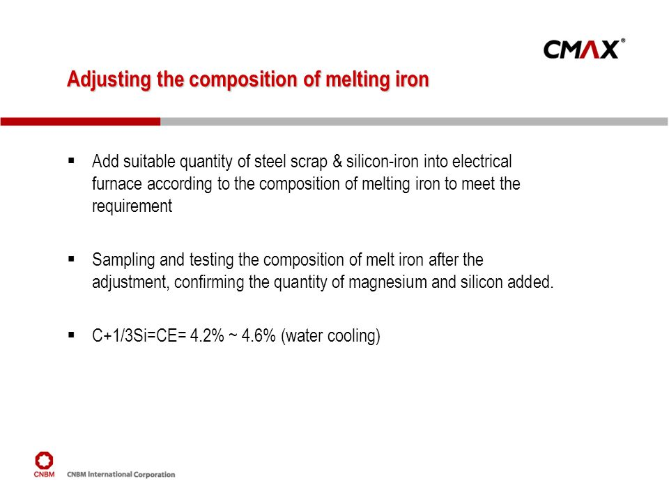 Adjusting the composition of melting iron